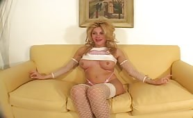 enormous titties blondy lady boy With Pierced Nipples Talks About Her On The Casting Couch