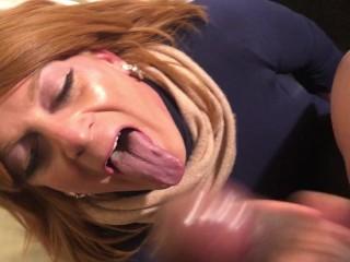 Sissy Crossdresser humongous Surprise Facial Cumshot from BBC massive black meat