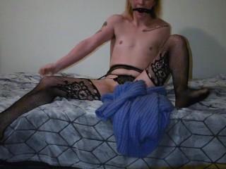 Bored CD Trans Quarantine slut Plays with Himself