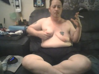 Chubby FTM Trans dude Sits And Plays With melons, Burns Nipples, and Stretches Udders - BDSM Solo