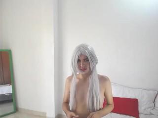 Sofi white. pretty jovencita latina trans. Modelando pantimedias y tacones. Chica adolecente