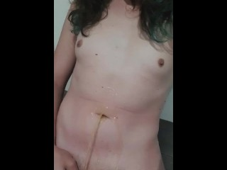Little cock trans lady pissing on herself