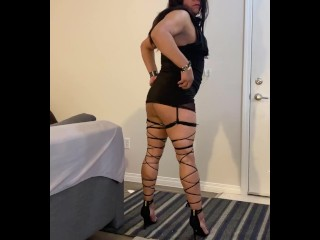 pretty hispanic shemale Rachelle cute Dress Flashing ass in Thong
