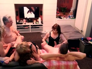 Amateur ts Orgy Part 2 with 4 hoes and 2 dudes.