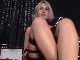 Russian trans girl masturbates and cums live