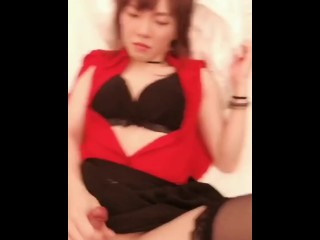 Very stunning transsexual in hotel with boy