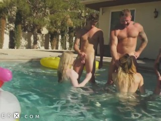 dick Flopping Transgender Orgy In Pool - GenderX