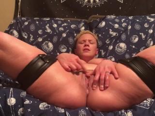 FTM Transman // Ethan Hawk BDSM Leg Harness Squirting orgasm boobies Out