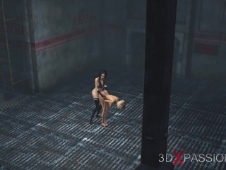 A horny young t-girl slave get nailed by 3d hot t-girl in industrial zone
