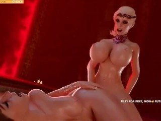 3D futanari with gigantic schlong, futa fucks female, hottest gameplay