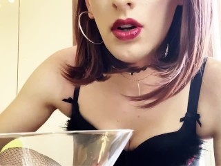 Cd sissy cum milking in glass and drinking everything