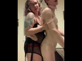 Curvy MILF domme pegs her sub on the kitchen table