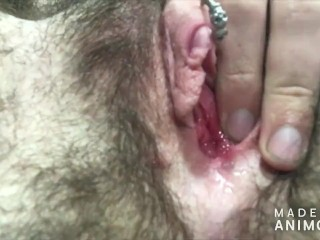 pierced trans gapes twat with toy and cums