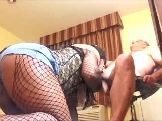 enormous booty Hot black t-girl swallowing White Daddy penis