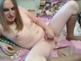 Trans blonde Astra having fun with herself