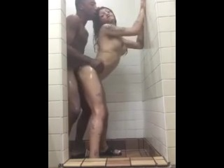 Hung multiracial lady boy gets plowed in the shower