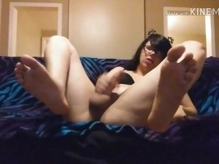 Trans CatGirl Shows behind, Feet, cock and Cums