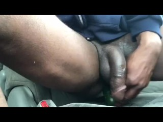 Riding my cucumber deep in my ass while my bbc flops around