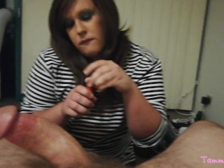 Sissy CD enjoys to lick fat Daddy meat