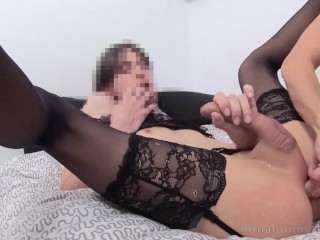submissive bratty trans getting covered with semen of huge uncut stud