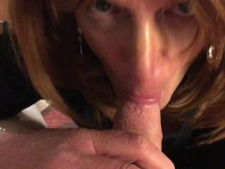 Sissy Crossdresser Gets Surprise Mouthful of cum