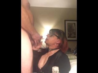 Sissyfaggot takes dildo and gets facial sperm dump slutty bitch