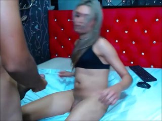 beautiful t-girl having 69 and anal sex with a fan